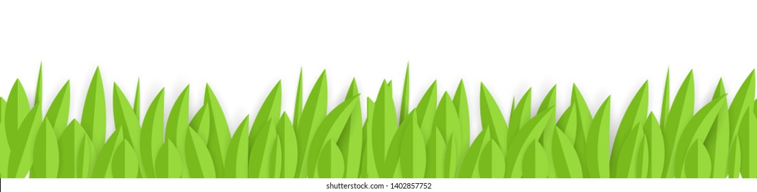 Green paper grass horizontal seamless border design. Vector Illustration EPS10