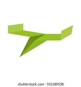 green paper plane toy air vector illustration eps 10