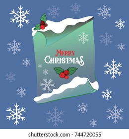 Green paper scroll with Merry Christmas written on it with snow on the top. Vector illustration on blue background with snowflakes