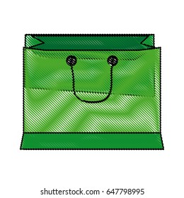 green paper shopping bag with handles