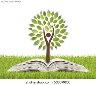 Green paper tree growing from an open book. The concept of ecology, to save the planet. Eco friendly. Open book legit on the grass. Vector illustration modern design template