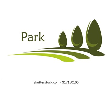Green park alley abstract icon with row of trimmed elongated bushes with caption Park