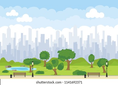 A green park in the center of the city with benches, trees, a lake. City Park. Flat, cartoon vector.