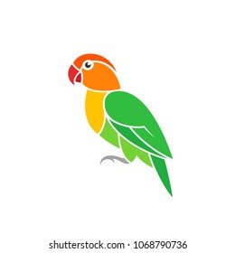 Green parrot. Lovebird. Exotic bird on white background