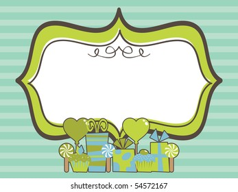 green party frame with decorations on blue background