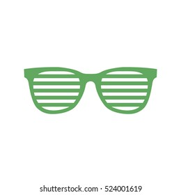 Green party glasses icon vector illustration