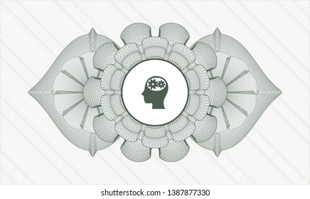Green passport money rosette with head with gears inside icon inside