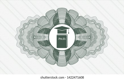 Green passport money rosette with Phd thesis icon inside