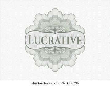 Green passport money rosette with text Lucrative inside