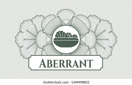 Green passport money style rosette with salad icon and Aberrant text inside