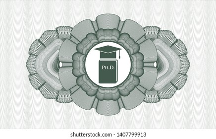 Green passport money style rosette with Phd thesis icon inside