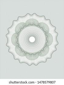 Green passport money style rosette. Vector Illustration. Detailed.