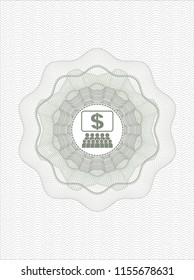 Green passport money style rossete with business congress icon inside
