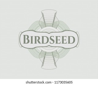 Green passport money style rossete with text Birdseed inside