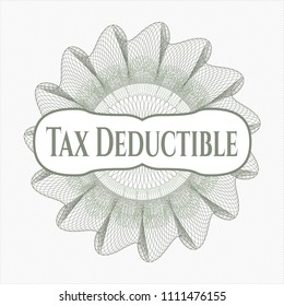 Green passport Green rosette (money style emblem) with text Tax Deductible insidemoney rossete with text Tax Deductible inside
