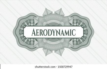 Green passport rosette with text Aerodynamic inside