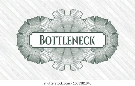 Green passport rosette with text Bottleneck inside