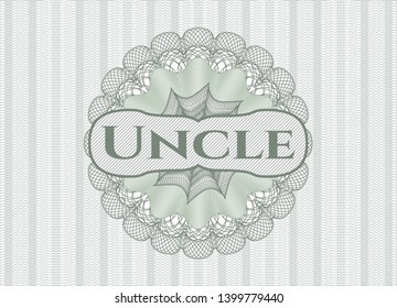 Green passport rosette with text Uncle inside