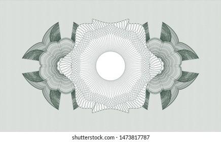 Green passport rosette. Vector Illustration. Detailed.