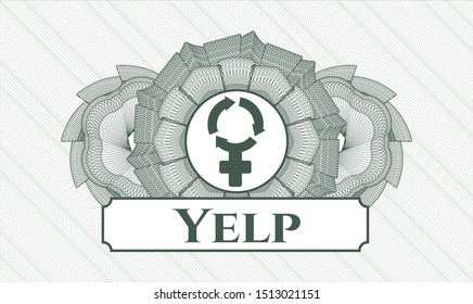 Green passport rosette with women cycle icon and Yelp text inside