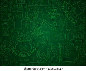 Green Patricks day background with beer mug, beer bottle, horseshoe, hat, pipe, shamrocks, pot with golden coins, vector illustration. Can be used for wallpaper,  scrap booking, vector illustration.