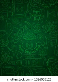Green Patricks day background with beer mug, beer bottle, horseshoe, hat, pipe, shamrocks, pot  with golden coins, vector illustration. Can be used for web, scrap booking, vector  illustration.