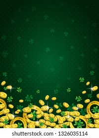 Green Patricks Day background with golden horseshoe, coins and clover. Patrick's Day design. Greetings card. Can be used for wallpaper, web, scrap booking, vector.
