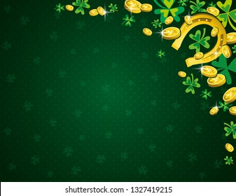 Green Patricks Day background with golden horseshoe coins and clover. Patrick's Day design. Greetings card. Can be used for wallpaper, web, scrap booking, vector.