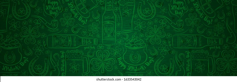 Green Patricks Day greeting banner with green clovers, beer mug, beer bottle, horseshoe, hat, pipe. Patrick's Day holiday design. Horizontal background, headers, posters, cards, website. Vector