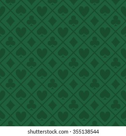 green pattern fabric poker table