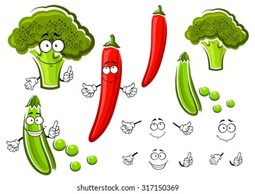Green pea pod, broccoli and red chilli pepper vegetables cartoon characters with smiling faces. For vegetarian food or agriculture theme