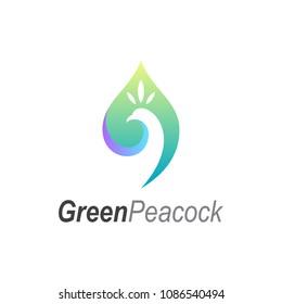 Green Peacock Logo, Peacock + Leaf, Creative Logo Template
