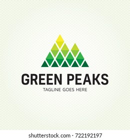 Green Peaks logo design template. Vector high mountain logotype illustration. Graphic alpine geometric rock icon sign for travel company, extreme sports, expedition. Climbing label with snow peaks.