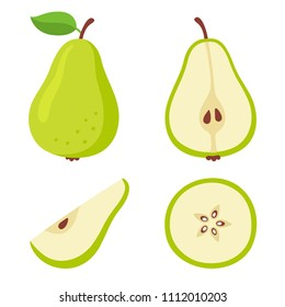 Green pear cartoon set. Cross section of cut pear and whole fruit, isolated vector illustration.