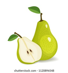 Green pear isolated on white background. Vector illustration. Cut green pear