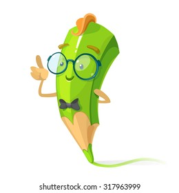 green pencil cartoon character nerd with glasses and a tie