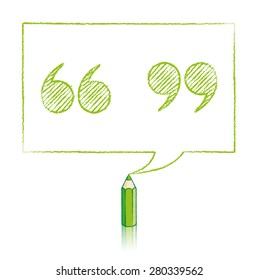 Green Pencil with Reflection Drawing Shaded Quotation Marks in Rectangular Speech Bubble on White Background