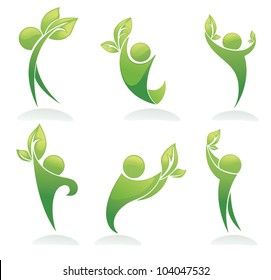 green people vector ecological collection