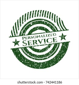 Green Personalized Service distressed rubber stamp with grunge texture
