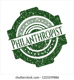Green Philanthropist distress grunge seal