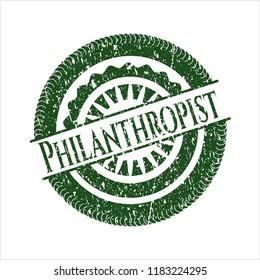Green Philanthropist grunge style stamp