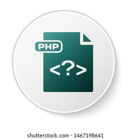 Green PHP file document. Download php button icon isolated on white background. PHP file symbol. White circle button. Vector Illustration