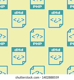 Green PHP file document icon. Download php button icon isolated seamless pattern on yellow background. PHP file symbol. Vector Illustration