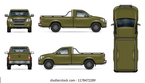 Green pickup truck vector mockup on white background. View from side, front, back, and top. All elements in the groups on separate layers for easy editing and recolor
