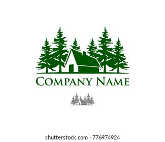 Green Pine Tree with House on the Forest Company Logo