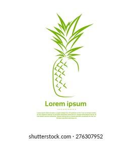 Green Pineapple Logo Draw Outline Icon Vector Illustration