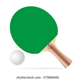 Green ping pong paddle and ball, vector design