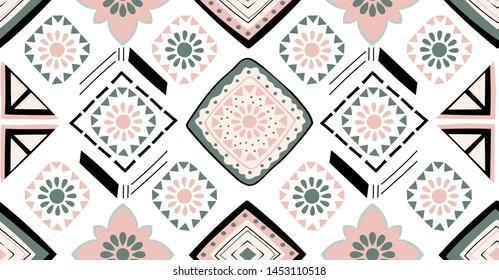 Green pink black geometric seamless pattern in African style with square,tribal,circle shape