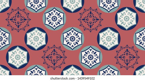 green pink geometric seamless pattern in African style with square,tribal,circle shape