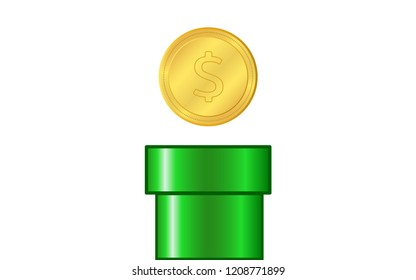 Green Pipe with Gold coin on white Background